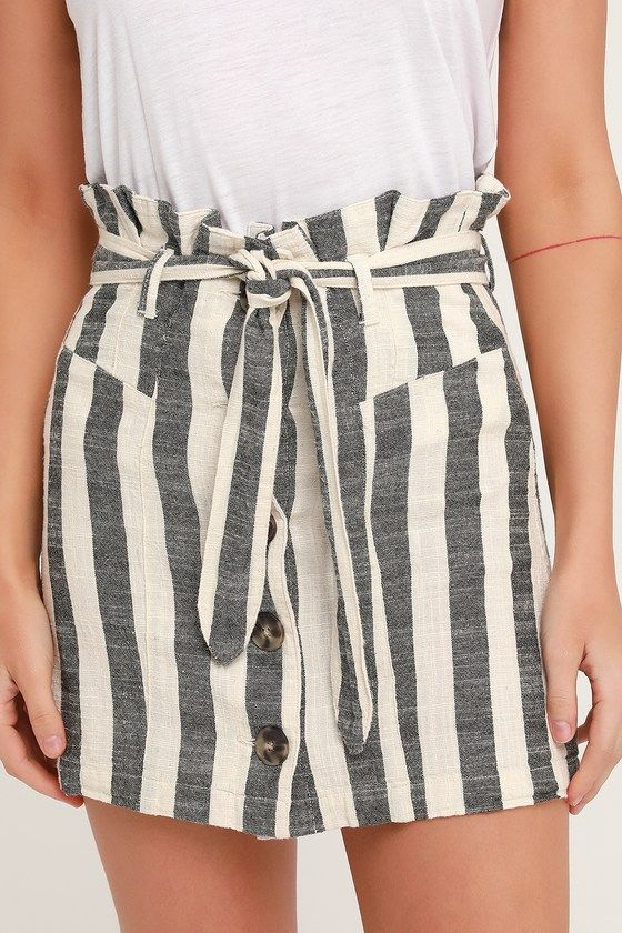 2c69b7a0bb Lulus | Reena Washed Black Striped Paper Bag Waist Mini Skirt | Size Small