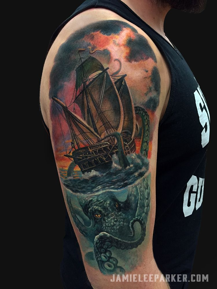 Image result for kraken and ship tattoo | tattoo | Kraken ... Uberhaxornova Tattoo Sleeve