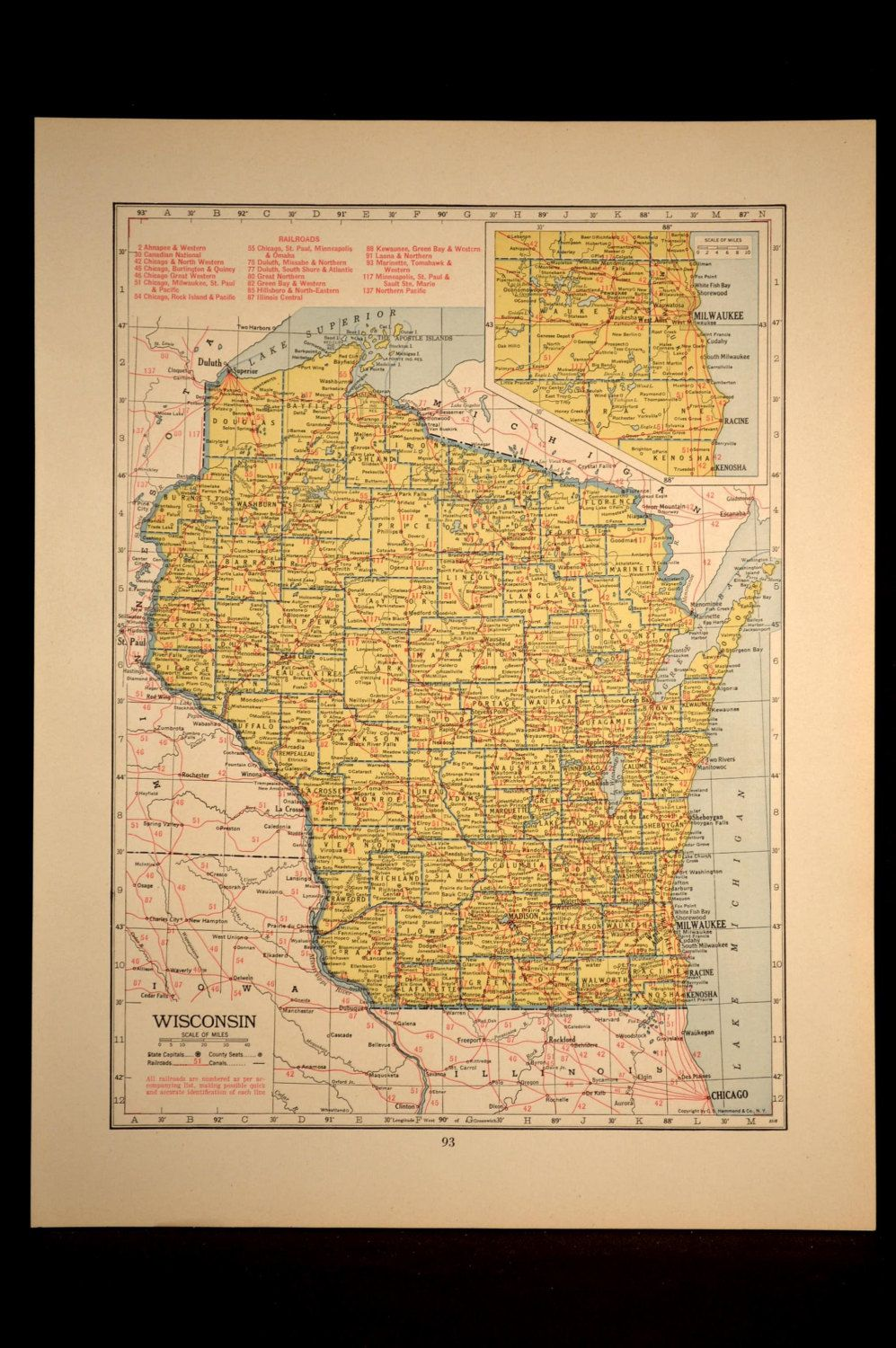 Wisconsin Map of Wisconsin Wall Decor Art Railroad Vintage Old 1940s on