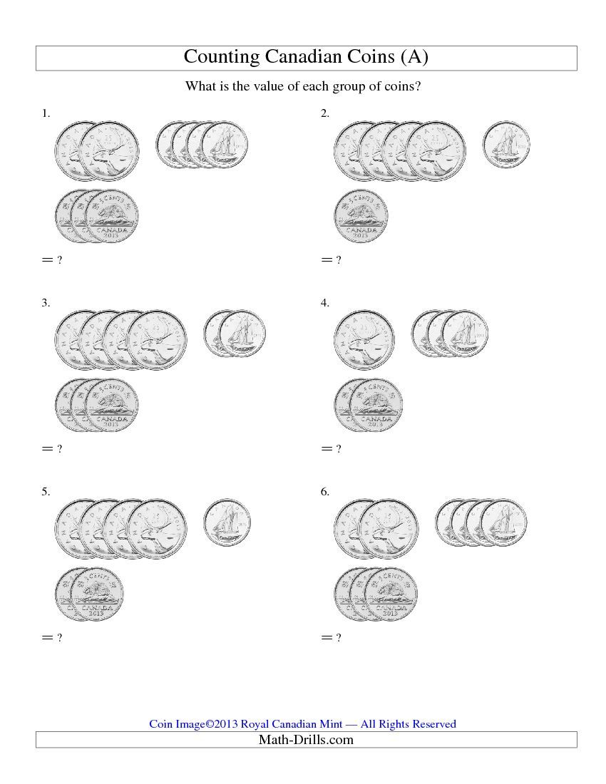 medium resolution of Counting Small Collections of Canadian Coins (No Dollar Coins) (A) and many  other free math worksheets.   Teaching money