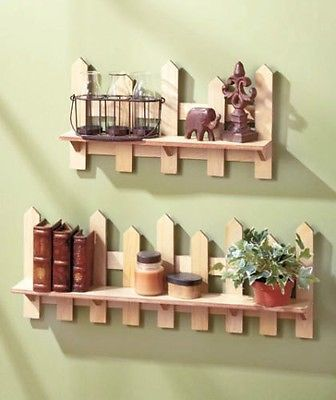 Set Of Two Wooden Fence Shelves Natural Traditional Picket Fence ...