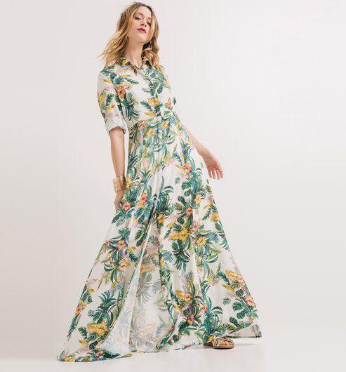 Longue robe Femme imprimé écru - Promod