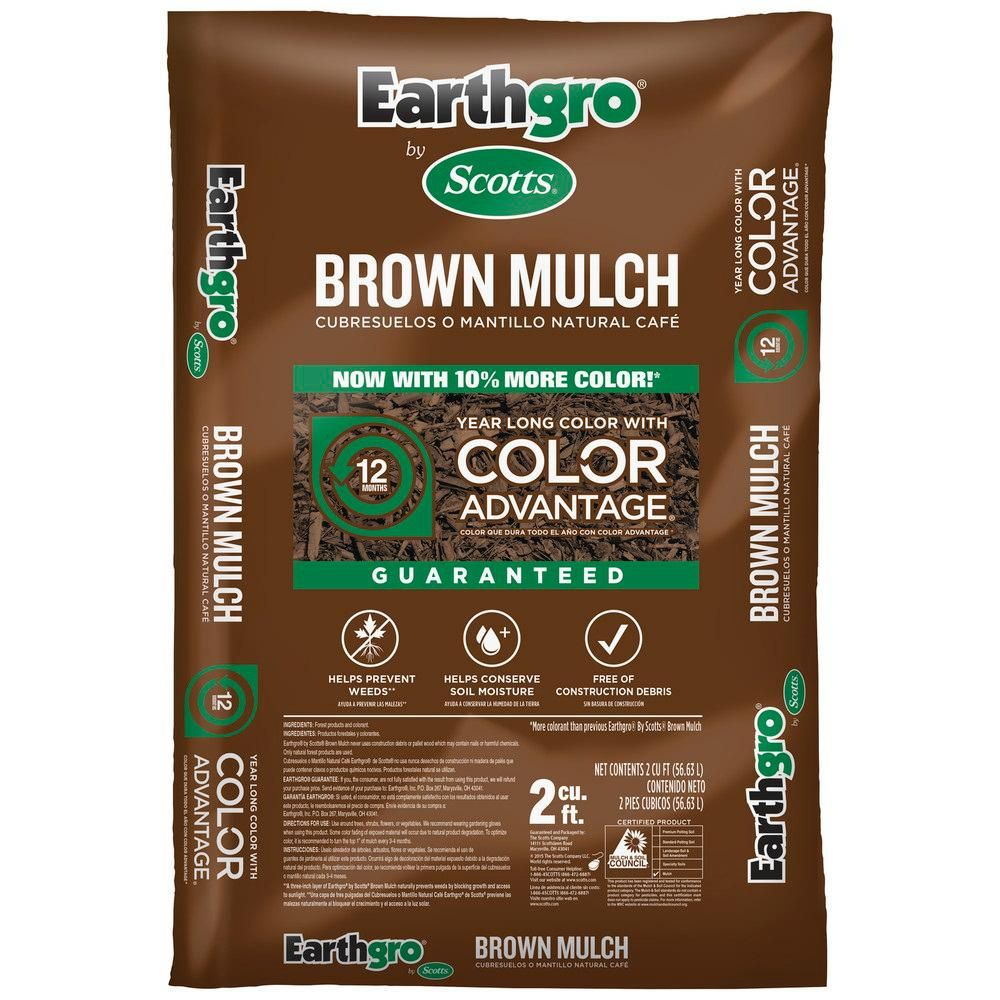 Mulch for terraced area. Scotts Earthgro 2 cu. ft. Brown