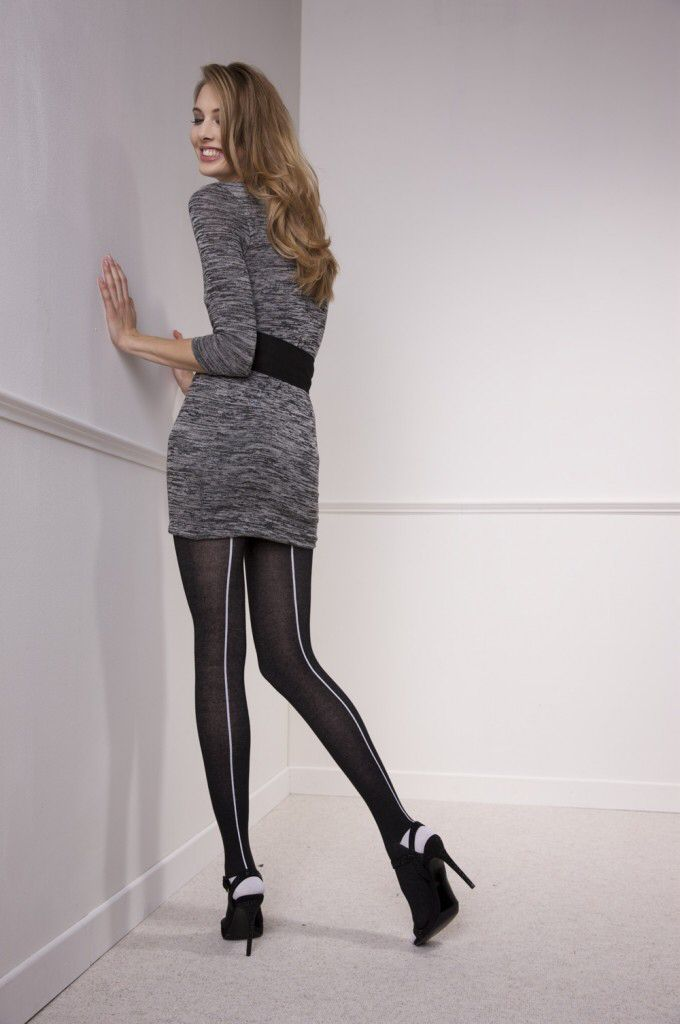 Cotton seamed pantyhose