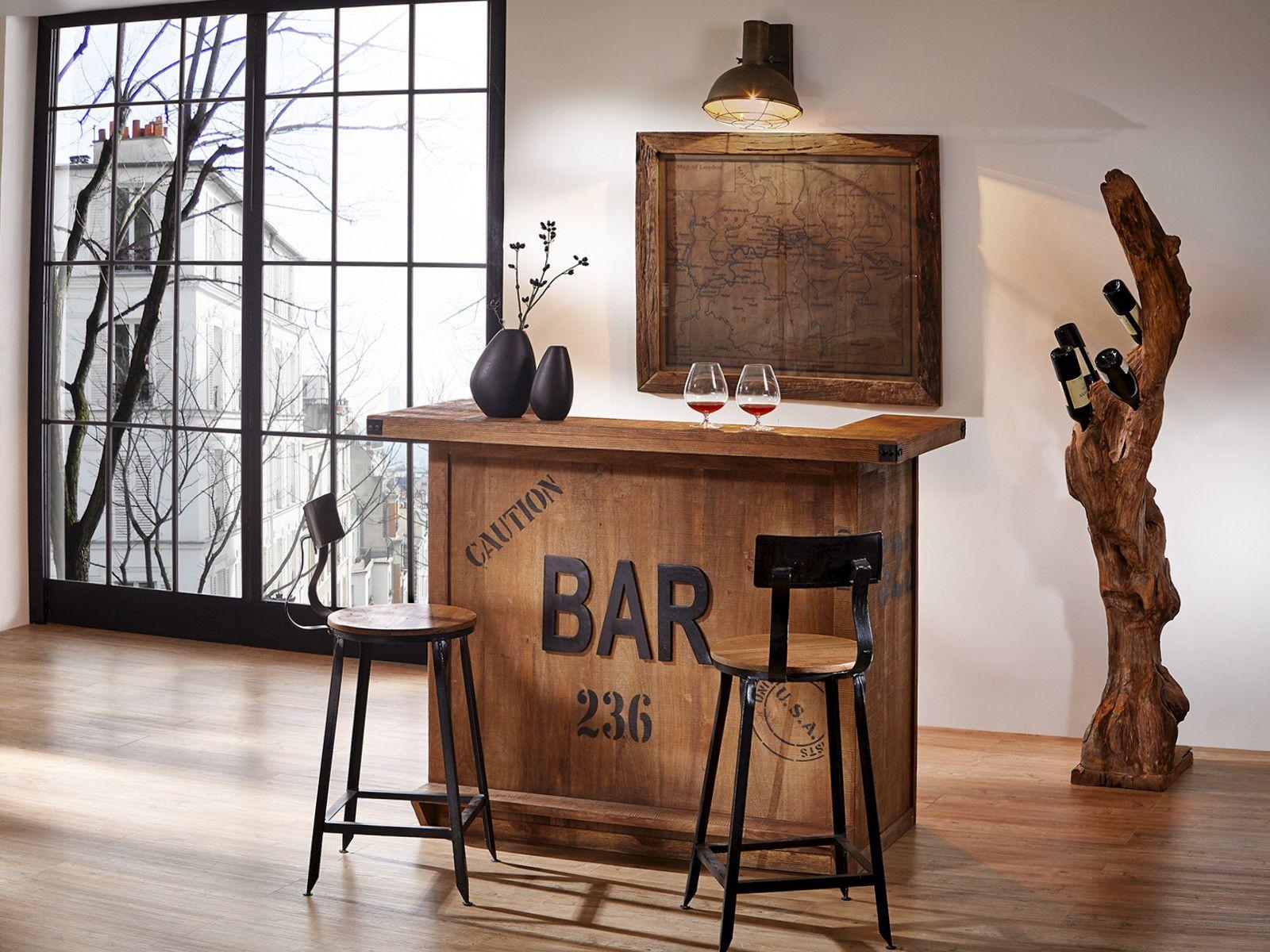 Bar aus massiv Mangoholz Metall in Handarbeit... www.wohnstatt-otten ...