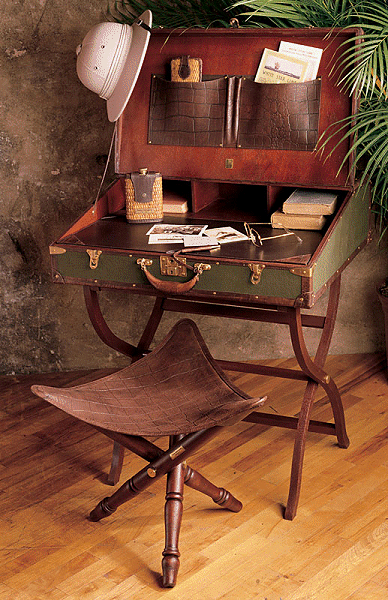 OK, Picture This Done In A More Feminine Style. An Old Suitcase Made Into A  Desk Like This. Set On A Vintage Luggage Rack, In The Guest Room.