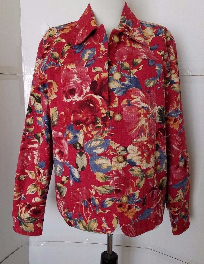 Coldwater Creek Button front Jacket Womens size M Floral Red waffle texture #ColdwaterCreek #BasicJacket #Outdoor