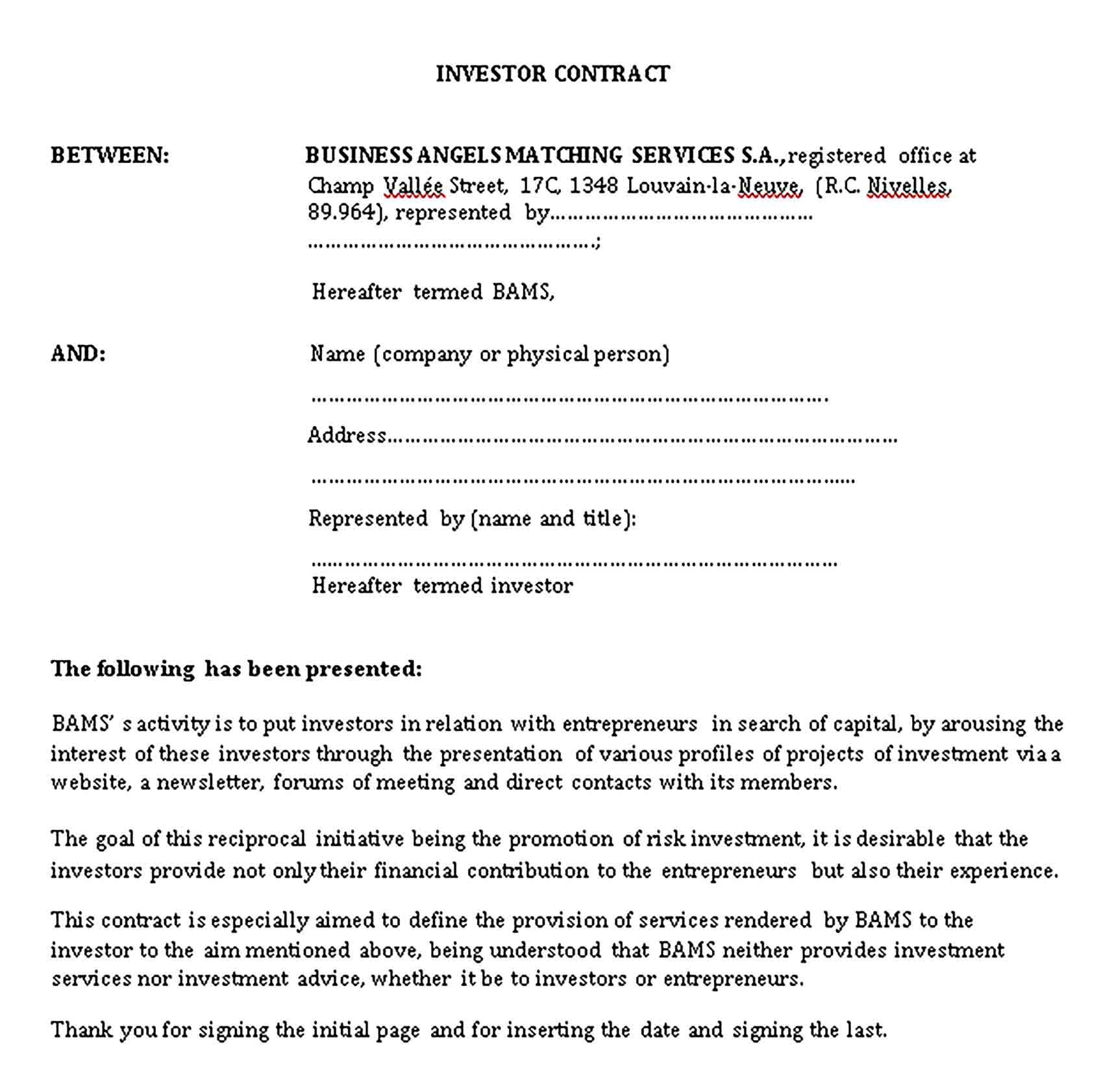 Sample Investment Agreement Template Investing Business Investment Contract Agreement