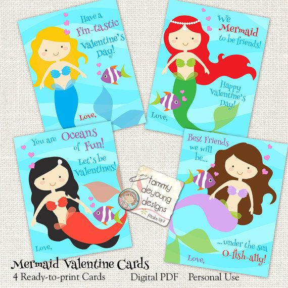 Mermaid Valentine Cards School Valentines for by songinmyheart
