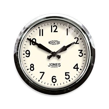 Jones 14 5 Inch Retro No Electric Clock Black Wall Clock Wall Clock Chrome Wall Clock