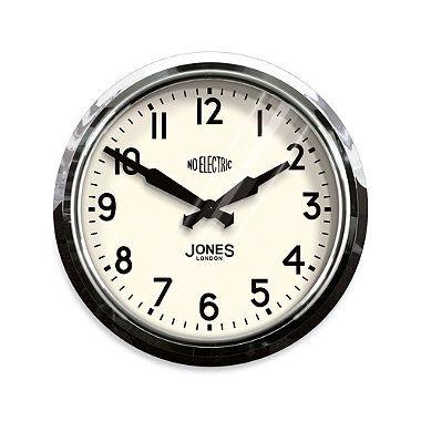 Jones 14 5 Inch Retro No Electric Clock Black Wall Clock Wall Clock Chrome Wall Clock