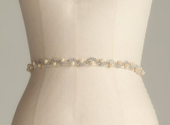 Rhinestone And Pearl Bridal Belt Wedding Sash Bridesmaid Dress In Ivory