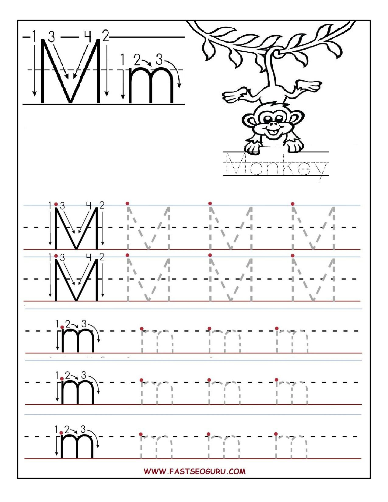 Printable Letter M Tracing Worksheets For Preschool