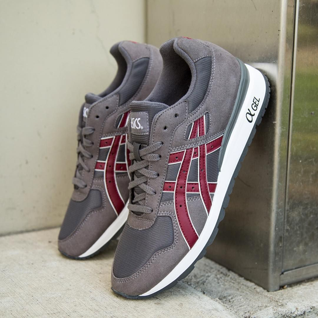 Men ASICS Tiger GT-II'Running Shoes' Grey/Burgundy Model UK0618