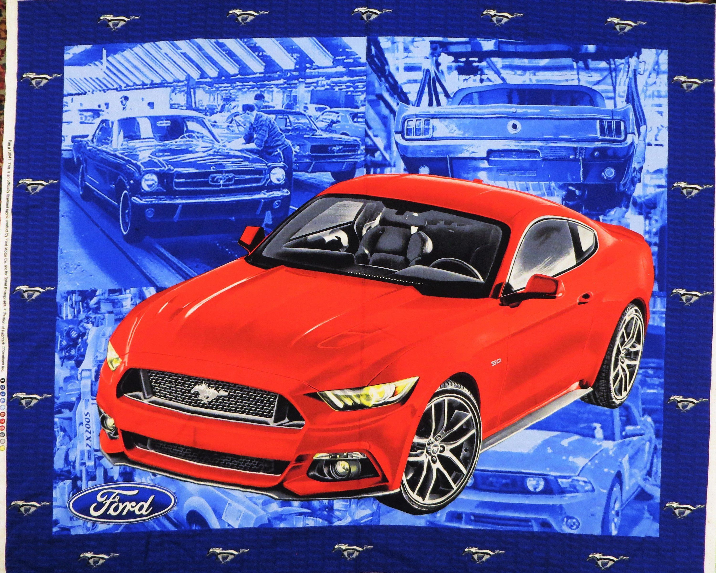 Ford Mustang Fabric Panel, Bright Red Car, Blue Background, Classic Cars, Cotton Quilting Fabric, Licensed Ford Motor Co, 35 x 44 inches