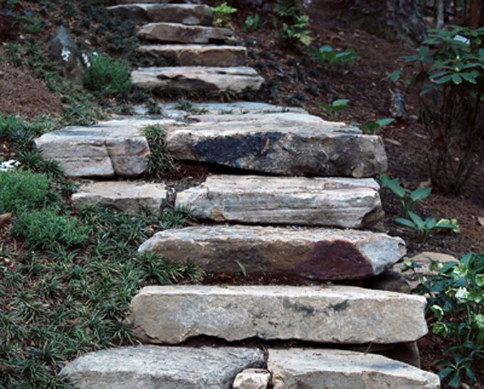 Natural Stone Slabs Used To Create Landscape Steps Tiered Landscape Hardscape Front Landscaping