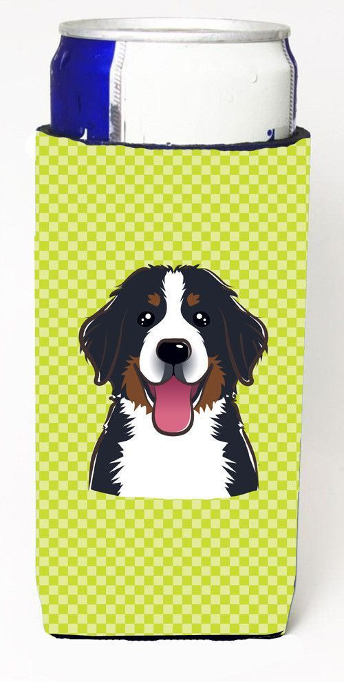 Checkerboard Lime Green Bernese Mountain Dog Ultra Beverage Insulators slim cans