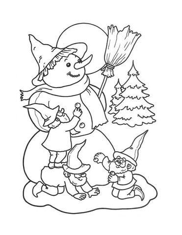 Duendes Haciendo Un Muneco De Nieve Dibujo Para Colorear Dibujos Para Colorear Muneco De Nieve Dibujo Paginas Para Colorear
