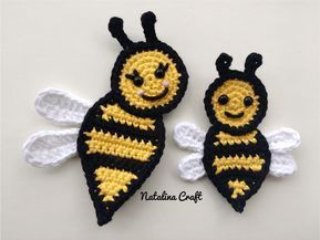 Bee Appliques : Free and easy crochet patterns #crochetapplicates