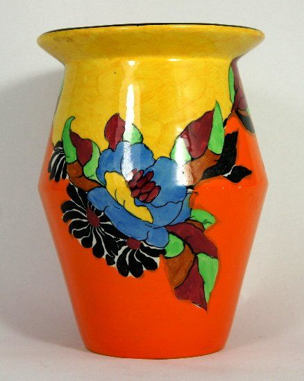 Clarice Cliff Wilkinson Vase In The Indian Summer On Art Deco