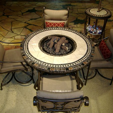 48 Mosaic Round Fire Pit Table Woodlanddirect Com Outdoor Fireplaces Fire Pits Gas Signature Fire Pit Table Round Fire Pit Table Outdoor Fire Pit Table