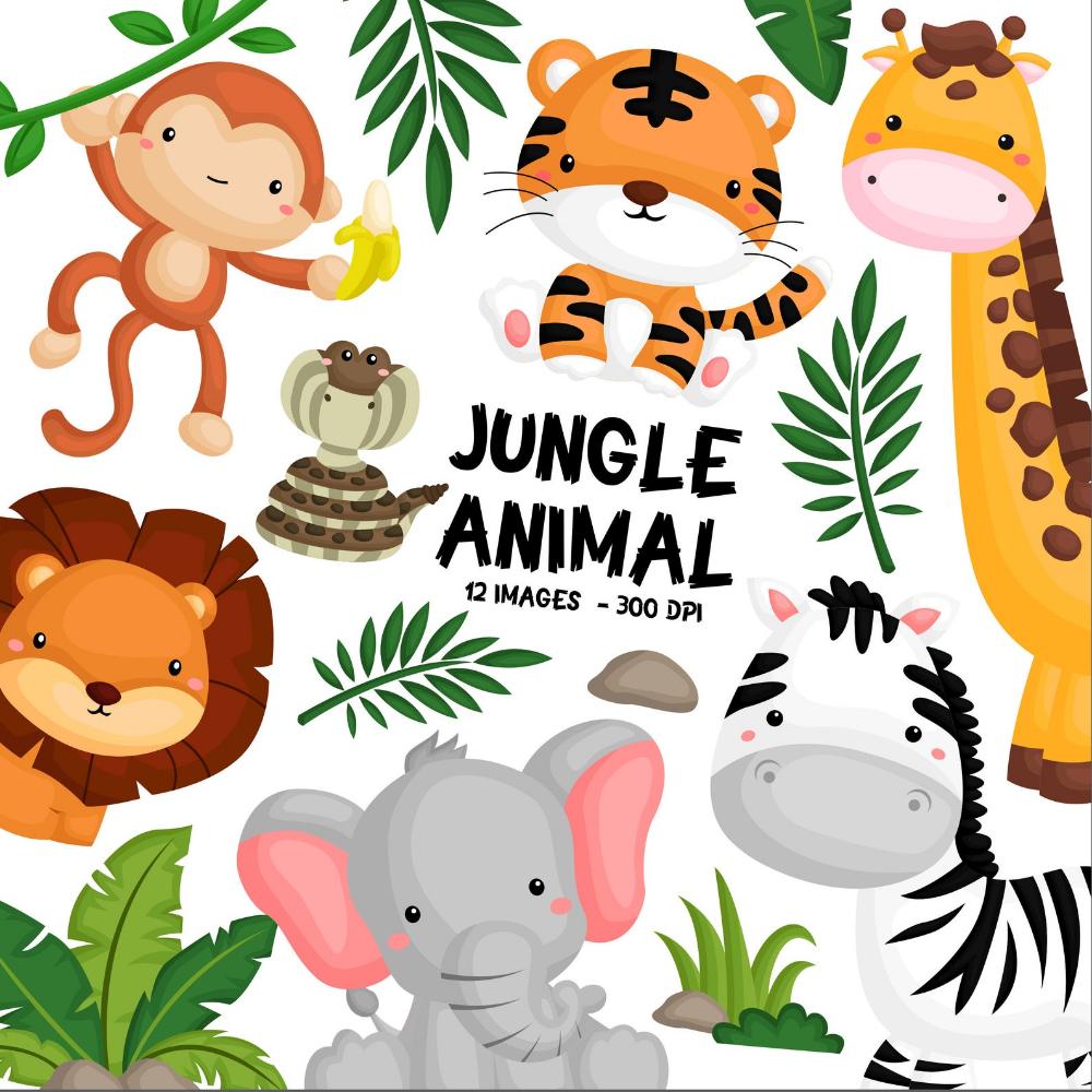 Jungle Animal Clipart Cute Animal Safari Clipart Free Etsy Animal Clipart Jungle Animals Clipart Free Clip Art
