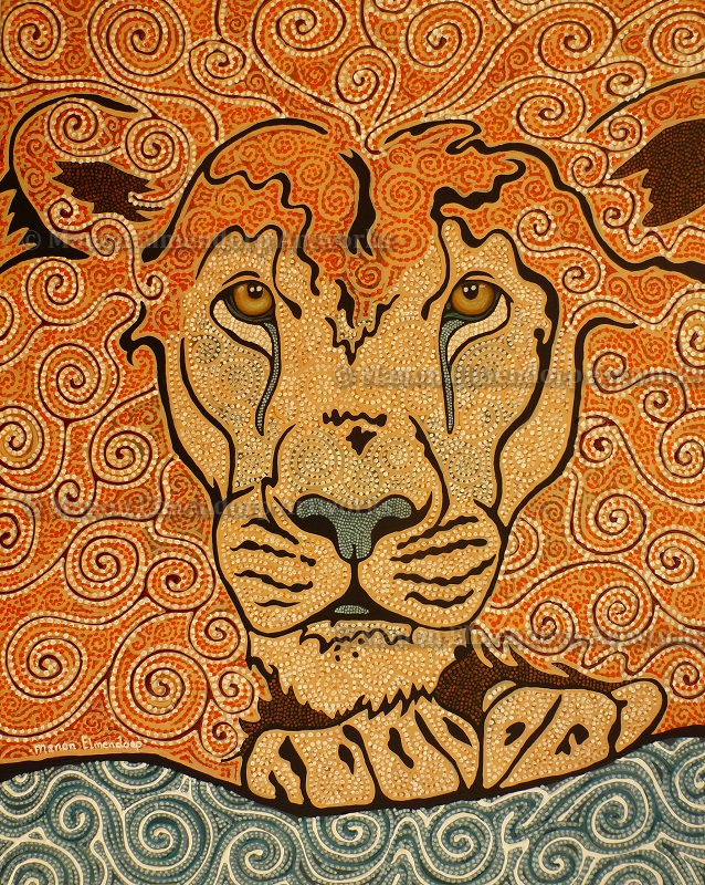 """Barbary Lion"" , Handpainted Dot Art Painting, Acrylic on Linnen. More info about me & my art at manon-elmendorp.nl"