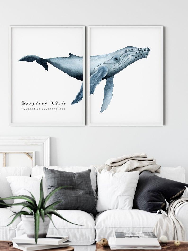 Printable Humpback Whale Art Print Set Of 2 Large Humpback Etsy Ocean Wall Art Whale Art Art Print Set
