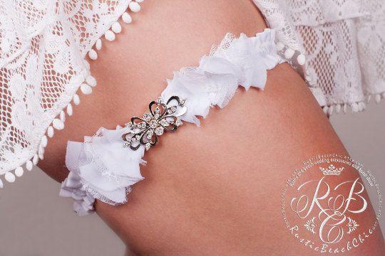 Rustic wedding garter lace garters white by RusticBeachChic