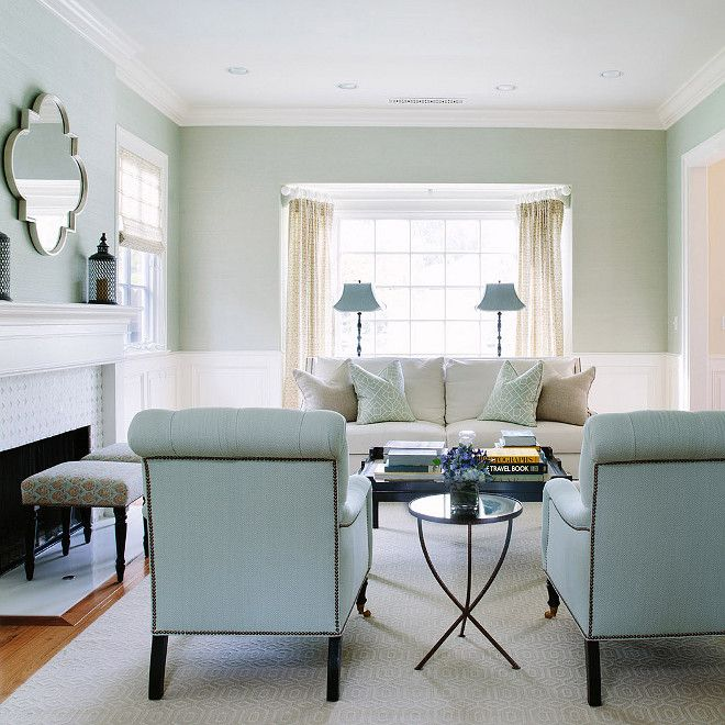 White And Blue Living Room Features Upper Walls With Light Blue Grasscloth  Wallpaper And Lower Walls