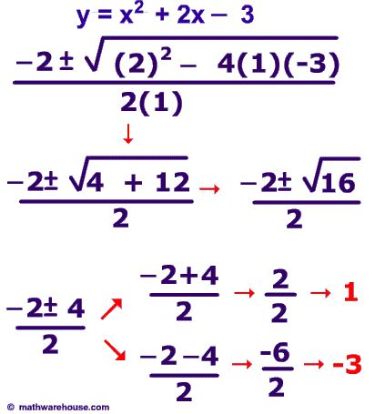 Example Of How To Solve A Quadratic Equation School Pinterest