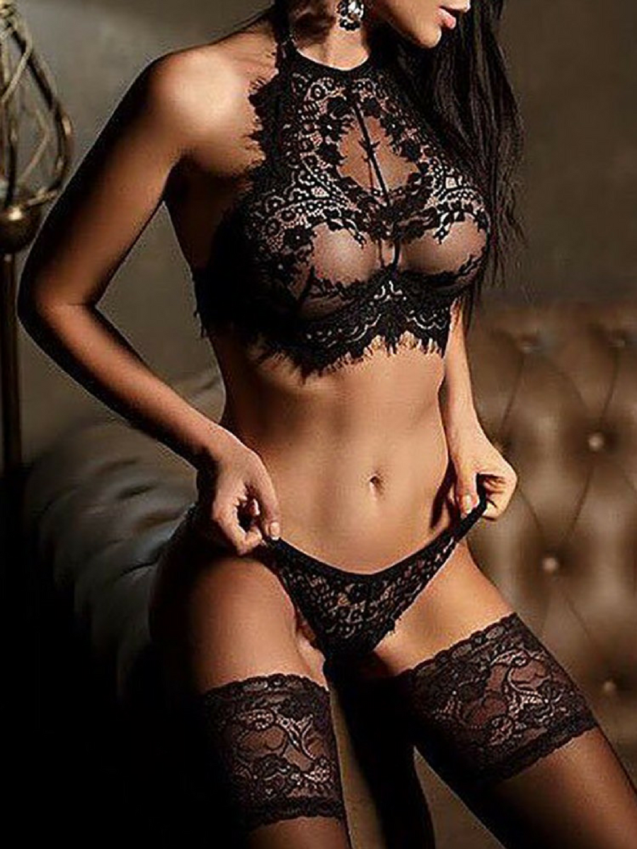 914b438c0f Fantastic gift idea for girlfriend or wife! Alluring Black Eyelash Lace  Trim Lingerie Sets -