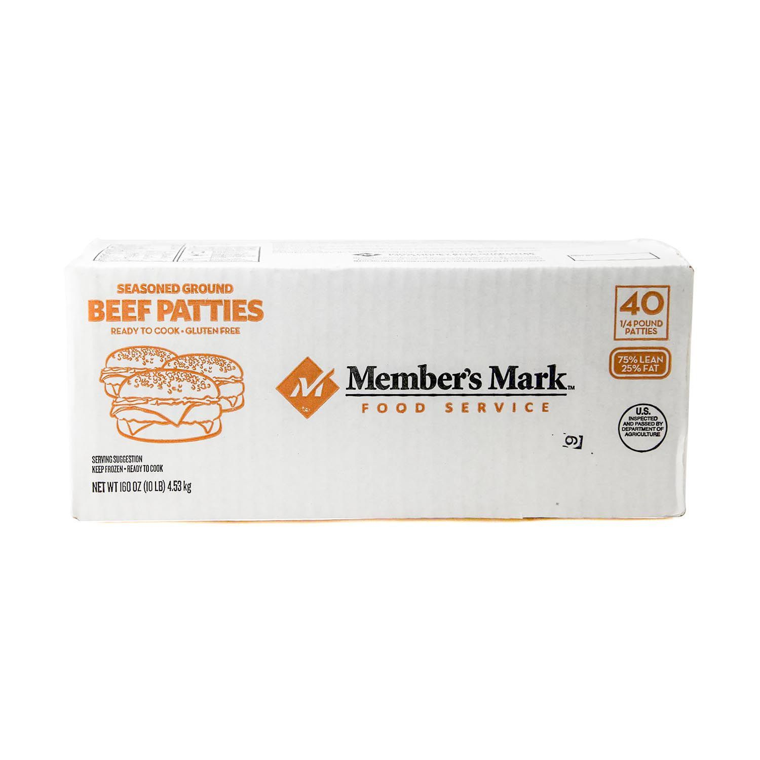 members mark seasoned ground beef patties 14 lb patties 40 ct