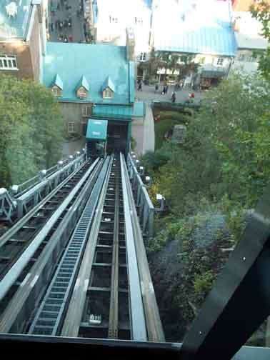 Funicular leading down to Lower Quebec City