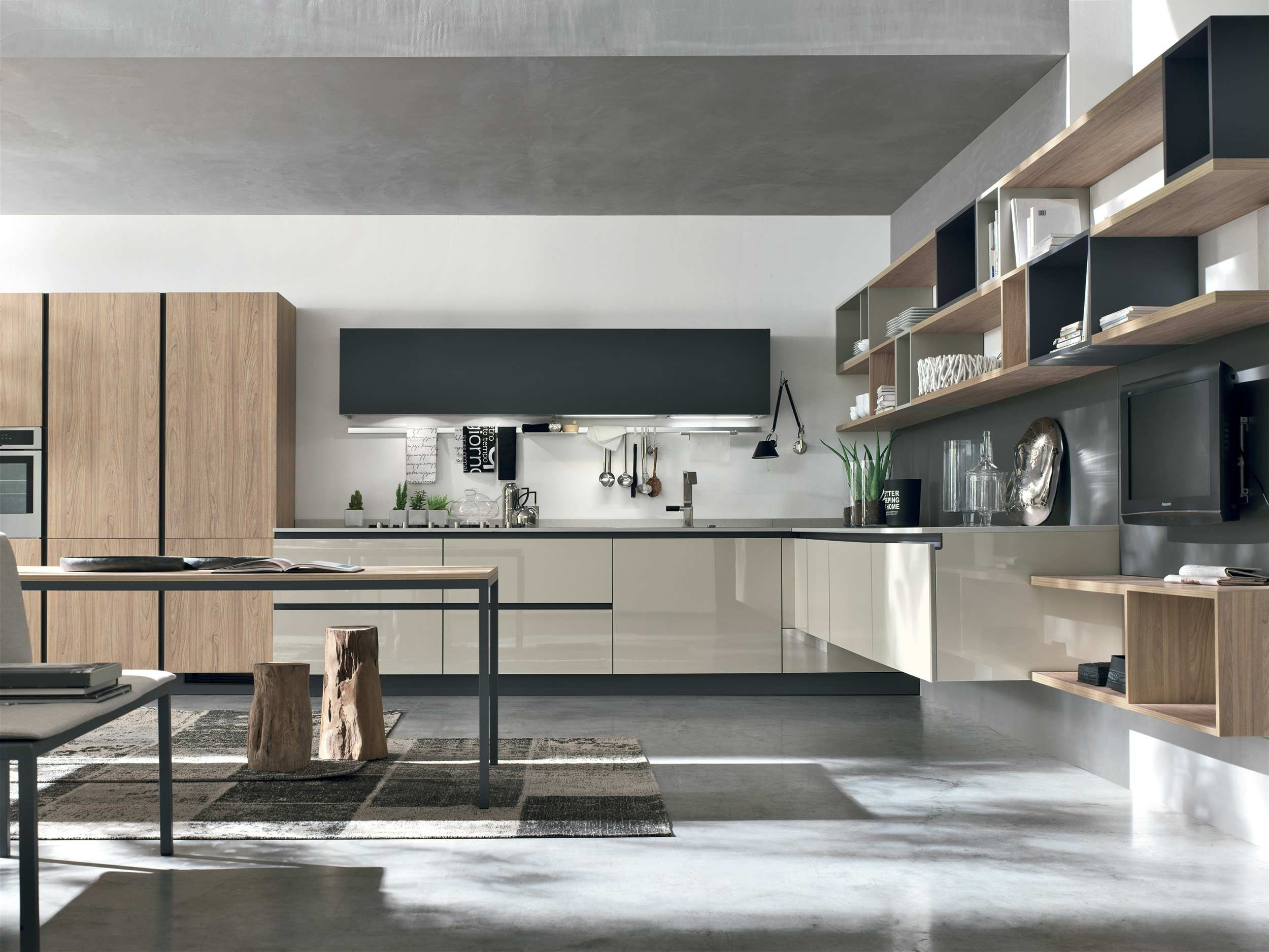 Cucine Moderne Stosa 2020.Alieve In Light Oak And Glossy Lacquer Made In Italy By