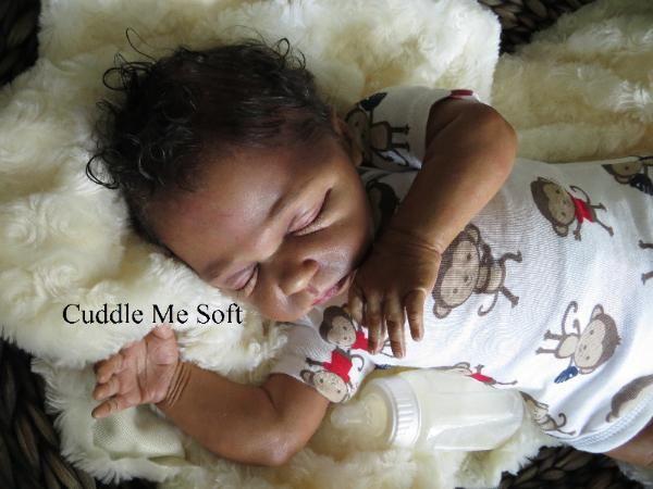 Reborn Doll lifelike Biracial Newborn Baby Boy Ethinical Black Skin Sleeping Boy
