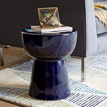 Side Table Idea For Outside Patio, Price Is Great! Tall X Round Remy Ceramic  Side Table   Navy Blue