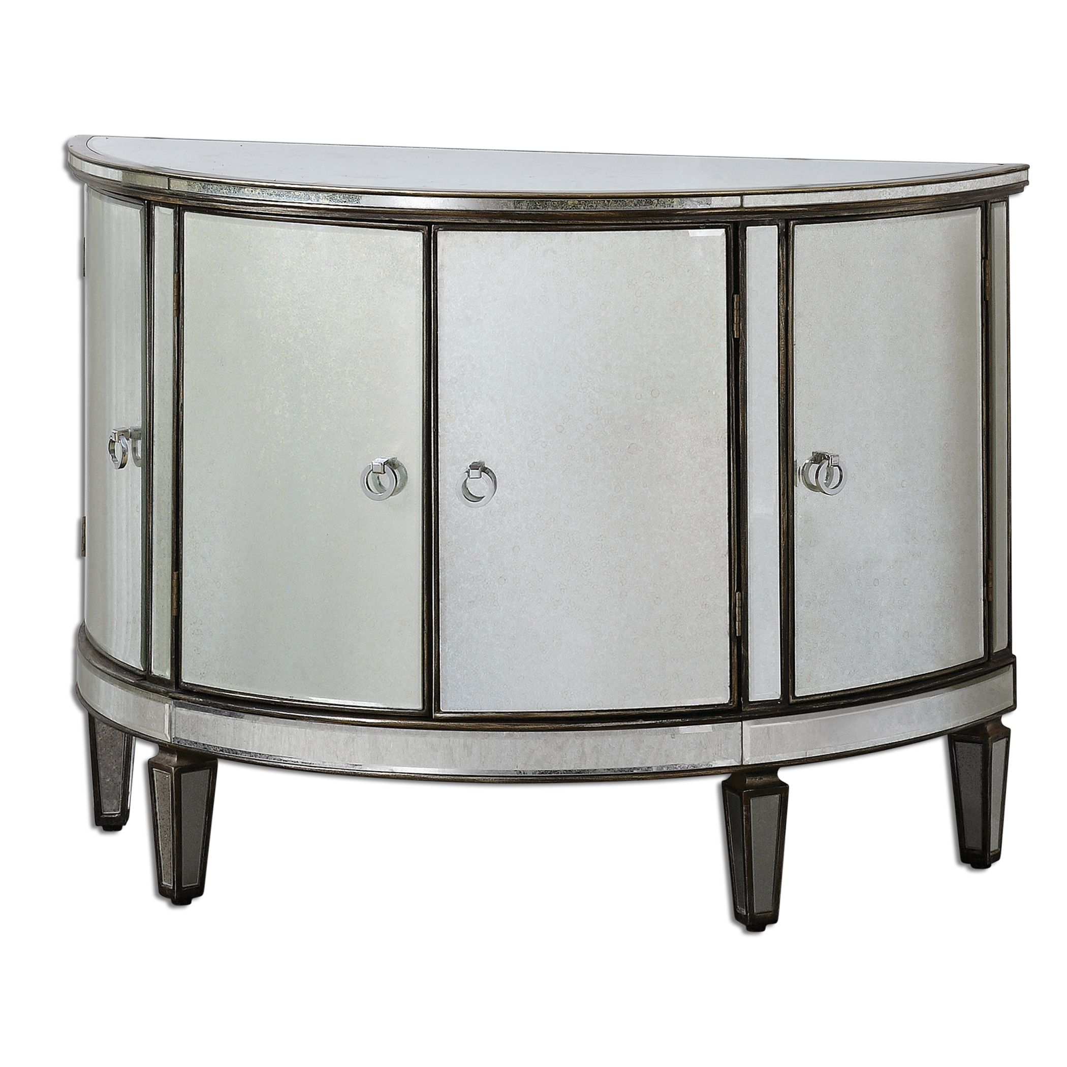 curved mirrored console cabinet with antique bronze solid bronze frame 42