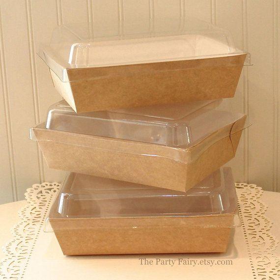 Kraft Boxes 6 Brown Kraft Salad Food Boxes With Plastic Lids Food Tray Brown Paper Salad Box Lunch Food Box Packaging Sandwich Packaging Salad Packaging