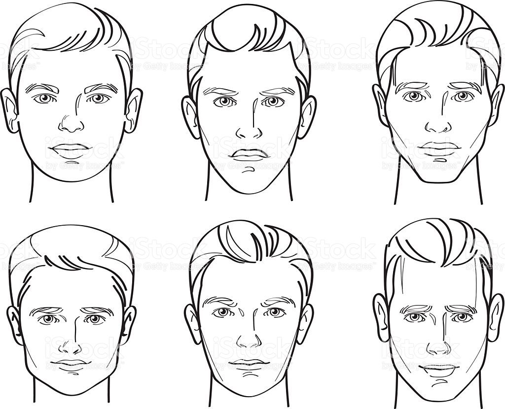 Line Drawing Illustratio of Six Different Types of Male