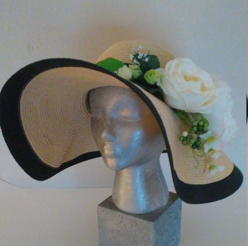 Panama hat with cabbage roses, black polka dot ribbon by