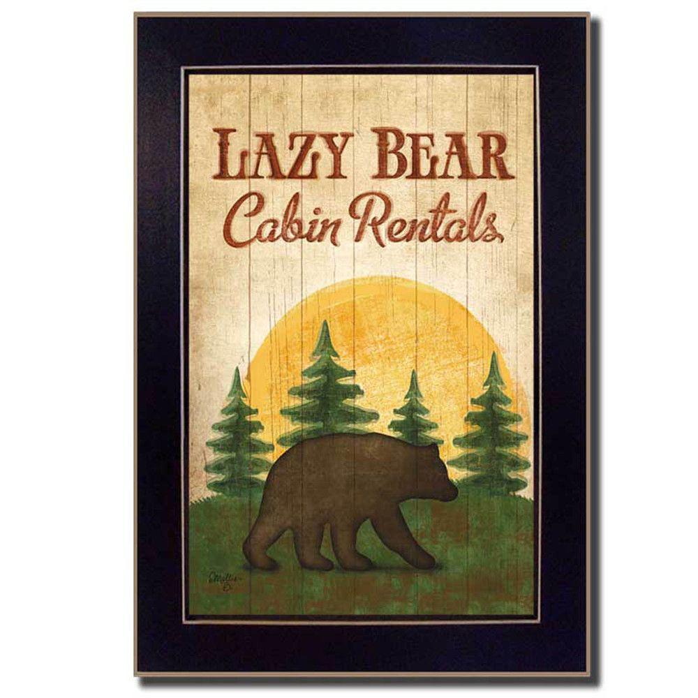 Mollie B. \'Lazy Bear\' Framed Wall Art Rustic lodge | Overstock ...