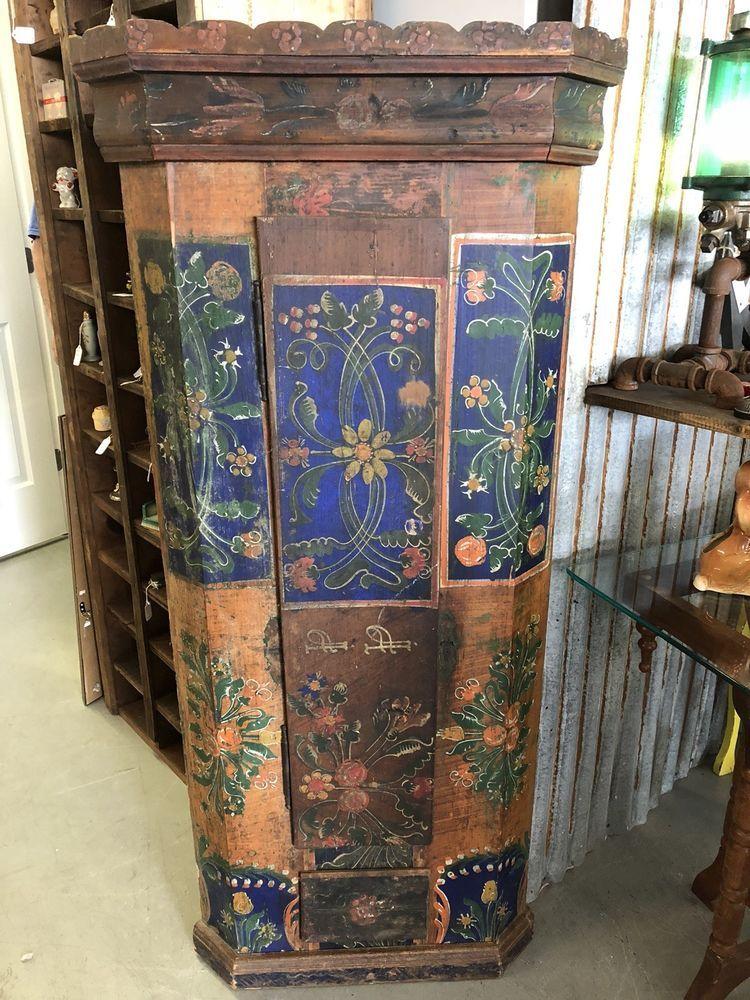 Antique Scandinavian/Hungarian Folk Art Cabinet Cupboard ?Wedding Original  Paint #Scandinavian