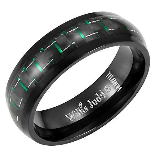 Men 7mm Black Ring With Green Carbon Fiber In Gift Box