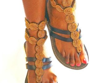 African Colours Beaded Leather Sandals Flip-Flops Shoes - Gold Style No.35