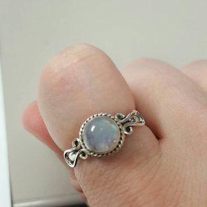 Silver Moonstone Ring, Sterling Silver, Round Shaped Moonstone, Engraving, Silver Rings Women, Moonstone, Gemstone, Gypsy, Sterling Ring