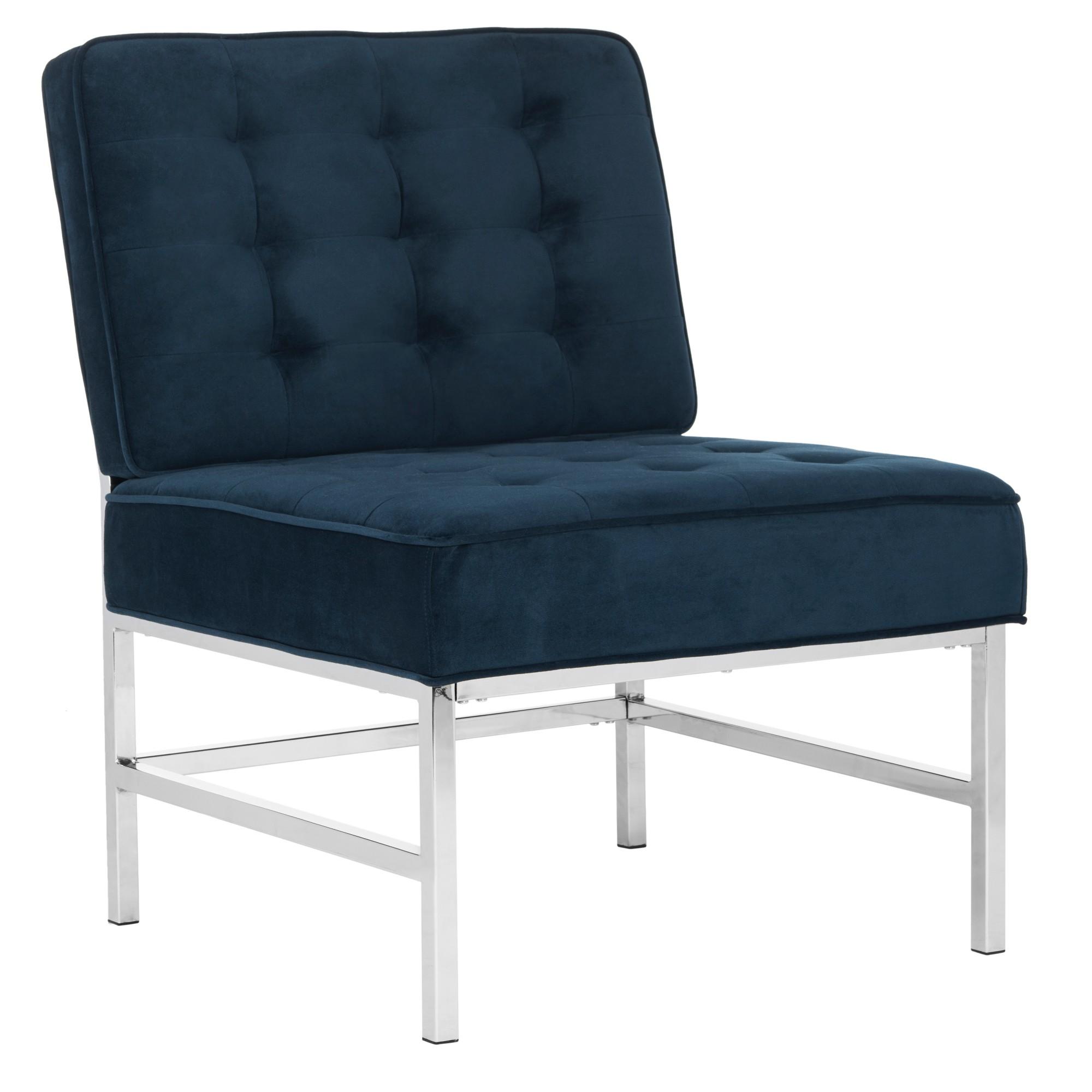 Best Ansel Modern Tufted Armless Chair Navy Velvet Safavieh 400 x 300