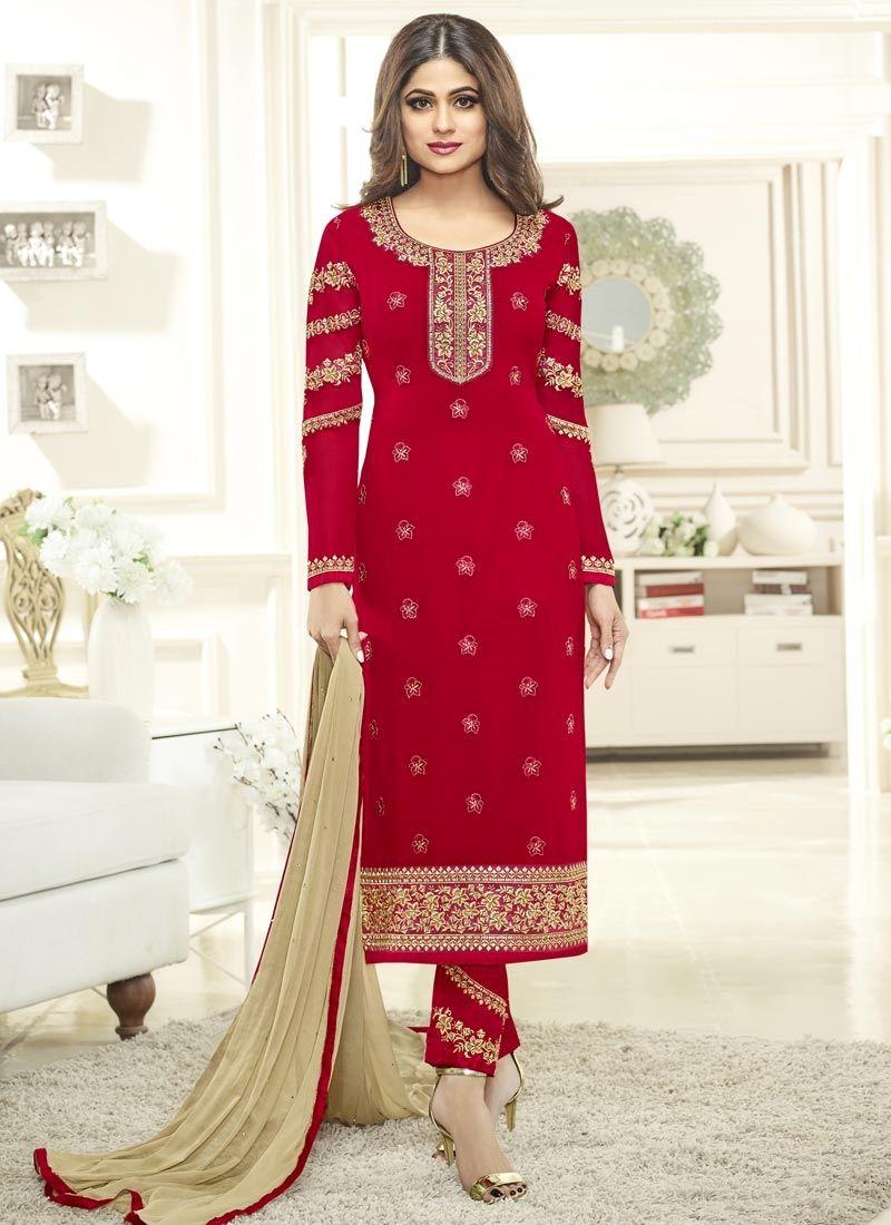 5fed60e2ec Designer anarkali bollywood salwar suit dress material online. Shop Shamita  Shetty embroidered, lace and resham work faux georgette churidar designer  suit.
