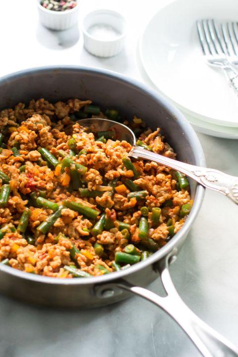 Ground Turkey Skillet With Green Beans Recipe Leftover Turkey Recipes Green Bean Recipes