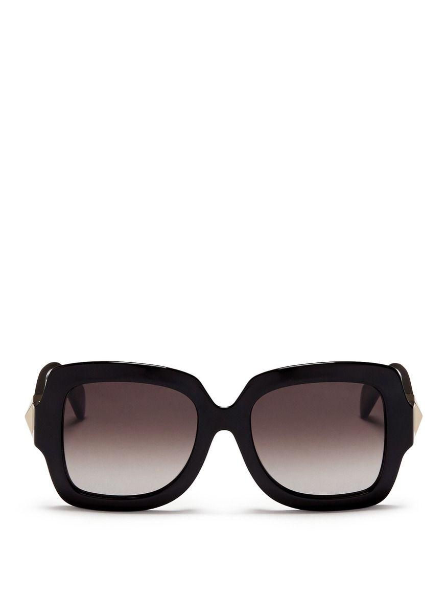 4338b7a68c VALENTINO Chunky oversize square frame acetate sunglasses Eyewear